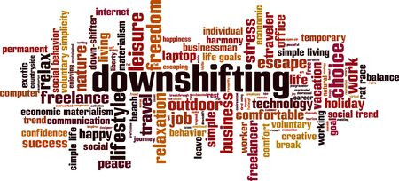 Downshifting word cloud concept. Collage made of words about downshifting. Vector illustration