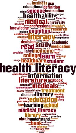 Health literacy word cloud concept. Collage made of words about health literacy. Vector illustration
