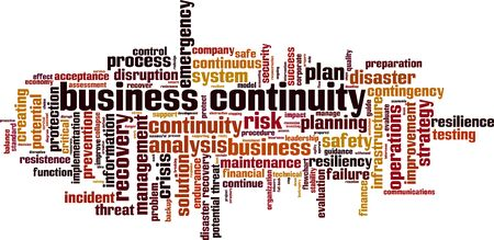 Business continuity word cloud concept. Collage made of words about business continuity. Vector illustration Vettoriali
