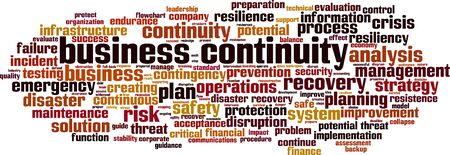 Business continuity word cloud concept. Collage made of words about business continuity. Vector illustration