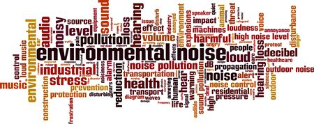 Environmental noise cloud concept. Collage made of words about environmental noise. Vector illustration  向量圖像