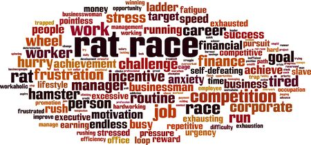 Rat race word cloud concept. Collage made of words about rat race. Vector illustration Illustration