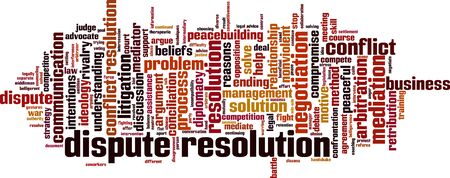 Dispute resolution word cloud concept. Collage made of words about dispute resolution. Vector illustration  Stock Illustratie