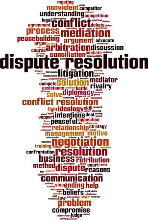 Dispute resolution word cloud concept. Collage made of words about dispute resolution. Vector illustration   イラスト・ベクター素材