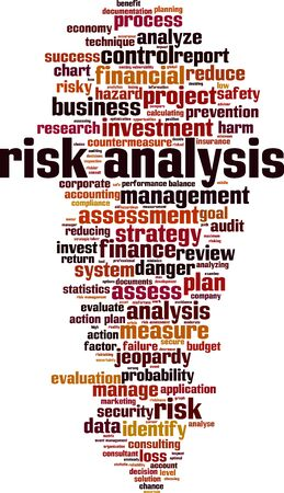 Risk analysis cloud concept. Collage made of words about risk analysis. Vector illustration Vecteurs