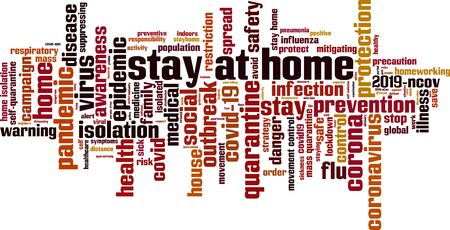 Stay at home word cloud concept. Collage made of words about stay at home order. Vector illustration 矢量图像