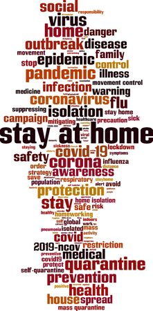 Stay at home word cloud concept. Collage made of words about stay at home order. Vector illustration 向量圖像