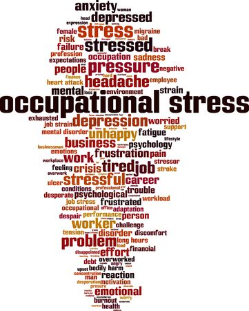 Occupational stress word cloud concept. Collage made of words about occupational stress. Vector illustration