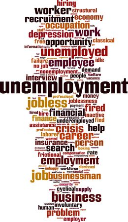 Unemployment word cloud concept. Collage made of words about unemployment. Vector illustration