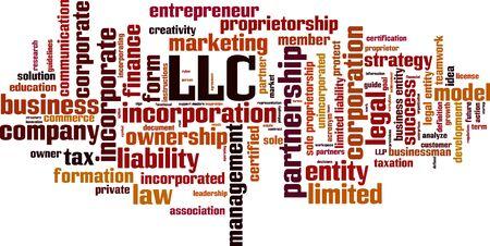 LLC word cloud concept. Collage made of words about LLC. Vector illustration Vektorgrafik