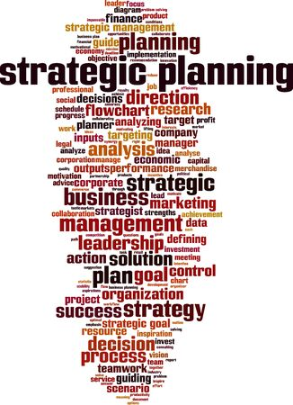 Strategic planning word cloud concept. Collage made of words about strategic planning. Vector illustration