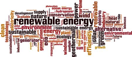 Renewable energy word cloud concept. Collage made of words about renewable energy. Vector illustration