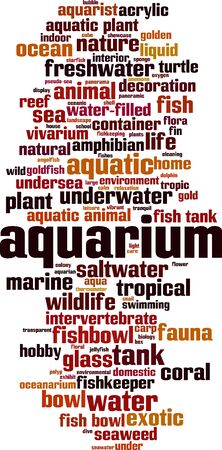 Aquarium word cloud concept. Collage made of words about aquarium. Vector illustration