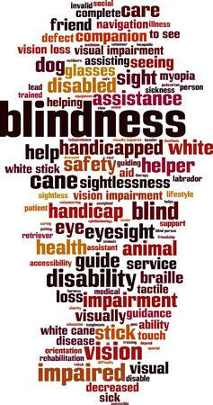 Blindness word cloud concept. Collage made of words about blindness. Vector illustration
