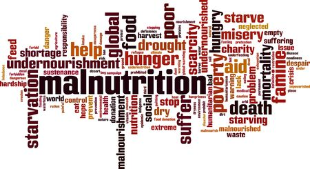 Malnutrition word cloud concept. Collage made of words about malnutrition. Vector illustration Illustration