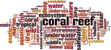 Coral reef word cloud concept. Collage made of words about coral reef. Vector illustration Ilustração