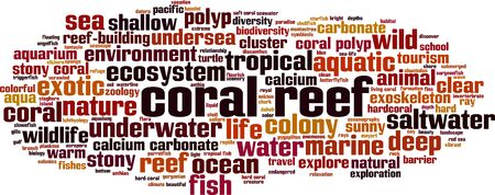 Coral reef word cloud concept. Collage made of words about coral reef. Vector illustration