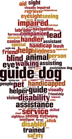 Guide dog word cloud concept. Collage made of words about guide dog. Vector illustration