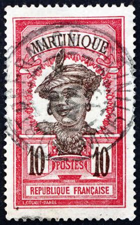 MARTINIQUE - CIRCA 1908: a stamp printed in Martinique shows Martinique woman, circa 1908