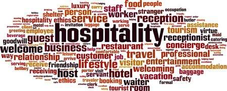 Hospitality word cloud concept. Collage made of words about hospitality. Vector illustration