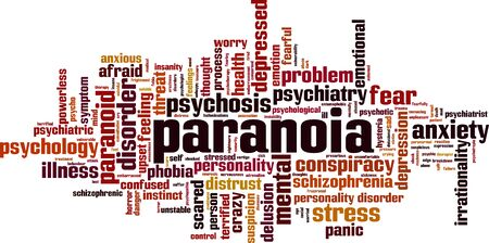 Paranoia word cloud concept. Collage made of words about paranoia. Vector illustration Vectores