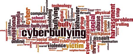 Cyberbullying word cloud concept. Collage made of words about cyberbullying. Vector illustration