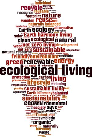 Ecological living word cloud concept. Collage made of words about ecological living. Vector illustration