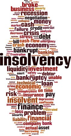 Insolvency word cloud concept. Collage made of words about insolvency. Vector illustration 일러스트