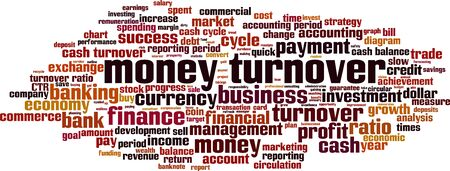 Money turnover word cloud concept. Collage made of words about money turnover. Vector illustration