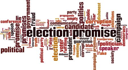 Election promise word cloud concept. Collage made of words about election promise. Vector illustration Vecteurs