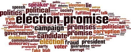 Election promise word cloud concept. Collage made of words about election promise. Vector illustration