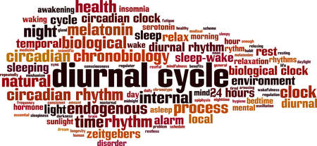 Diurnal cycle word cloud concept. Collage made of words about diurnal cycle. Vector illustration Illusztráció