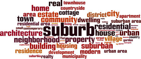 Suburb word cloud concept. Collage made of words about suburb. Vector illustration