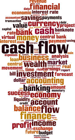 Cash flow cloud concept. Collage made of words about cash flow. Vector illustration