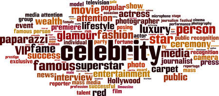 Celebrity word cloud concept. Collage made of words about celebrity. Vector illustration Illustration