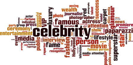 Celebrity word cloud concept. Collage made of words about celebrity. Vector illustration 向量圖像
