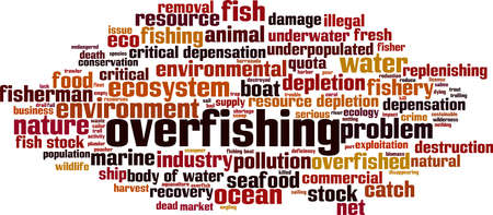 Overfishing word cloud concept. Collage made of words about overfishing. Vector illustration