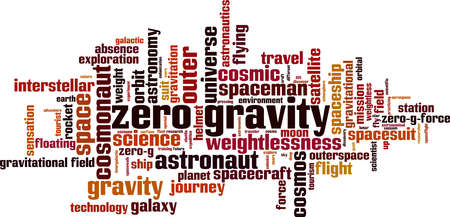 Zero gravity word cloud concept. Collage made of words about zero gravity. Vector illustration
