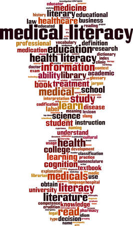 Medical literacy word cloud concept. Collage made of words about medical literacy. Vector illustration