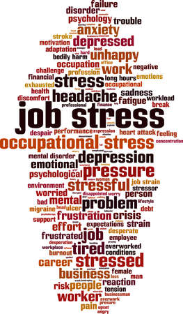 Job stress word cloud concept. Collage made of words about job stress. Vector illustration