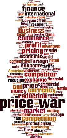Price war word cloud concept. Collage made of words about price war. Vector illustration