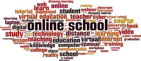 Online school word cloud concept. Collage made of words about online school. Vector illustration Ilustração