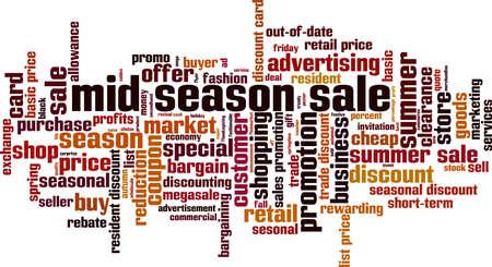 Mid season sale word cloud concept. Collage made of words about mid season sale. Vector illustration Ilustração