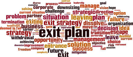 Exit plan word cloud concept. Collage made of words about exit plan. Vector illustration Ilustração
