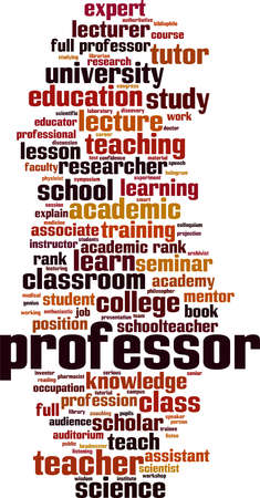 Professor word cloud concept. Collage made of words about professor. Vector illustration