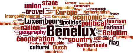 Benelux word cloud concept. Collage made of words about Benelux. Vector illustration