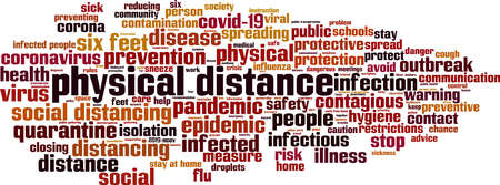 Physical distance word cloud concept. Collage made of words about physical distance. Vector illustration