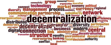 Decentralization word cloud concept. Collage made of words about decentralization. Vector illustration