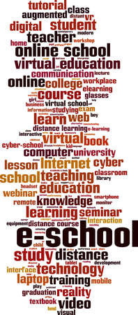 E-school word cloud concept. Collage made of words about e-school. Vector illustration