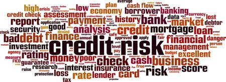 Credit risk word cloud concept. Collage made of words about credit risk. Vector illustration Ilustração